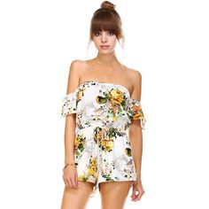 -NEW ARRIVAL- Garden Society Floral Lace Romper Show your adoration of all things floral with the Garden Society Floral Romper! Yellow, green, orange floral print blooms across a woven surplice bodice with off-the-shoulder lace sleeves with an elastic waistband and tassel trim.  100% Polyester likeNarly Pants Jumpsuits & Rompers