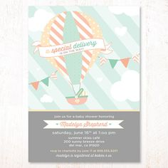 Hot Air Balloon Baby Shower Invitation Mint & Peach  by HWTM, $16.50