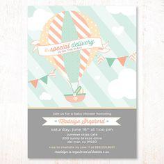 Hot Air Balloon Baby Shower Invitation Mint & Peach  by HWTM, $16.50