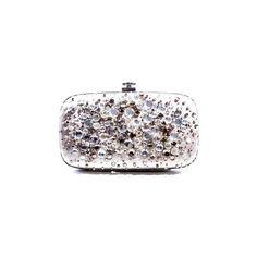 Pre-Owned Gray Satin Jeweled Clutch ($400) ❤ liked on Polyvore featuring bags, handbags, clutches, satin purse, grey handbags, oscar de la renta, gray handbags and oscar de la renta handbags