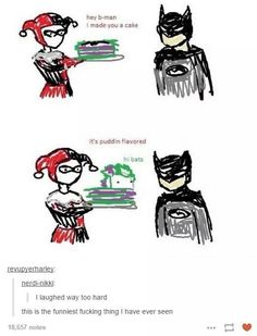 This is pretty funny. :) // Ate they really talking about Marvel tho? '… 28 Funny Memes Lol Hilarious Officially a College Graduate! 29 Spider-Man Memes & Moments That'll Make Your Spidey-Senses Tingle Top 5 Reverse Harem Anime Just. Joker And Harley, Harley Quinn, Dc Memes, Funny Memes, Funny Gags, Gotham, Geeks, Casa Anime, Nananana Batman