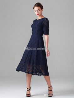 5cc33fdb7c Navy Blue Tea Length Lace Mother Of The Bride Dresses Vintage Half Long  Sleeve Beach Bridesmaid