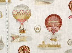 Hot air balloon fabric Paris France toile from Brick House Fabric: Novelty Fabric