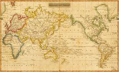 De wereldkaart op ware grootte