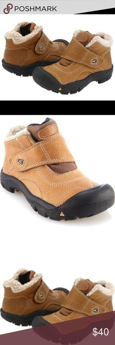Boys keen boots PRODUCT INFORMATION: Water-resistant leather upper perfect for wet or dry conditions. Cool stitch detailing for added style. Rubber toe prevents scuffs and scrapes. Padded mesh tongue for added comfort. Insulating fleece lining keeps feet warm. Oversized hook-and-loop closure for a secure fit. Dual climate rubber outsole provides premium traction. Measurements: Keen Shoes Boots