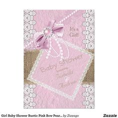 Girl Baby Shower Rustic Pink Bow Pearl Lace Burlap 5x7 Paper Invitation Card