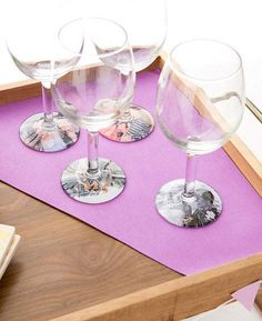 Add nostalgia and family memories to your Mother's Day relaxing with these photo wine glasses.