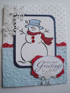 Frosty Christmas Card shimmer white paper for snowflakes --- use more bling… Christmas Cards 2017, Homemade Christmas Cards, Xmas Cards, Homemade Cards, Handmade Christmas, Holiday Cards, Christmas Snowman, Christmas Ideas, Snowman Cards