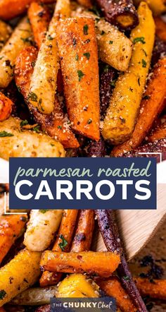This classic Roasted Carrots recipe combines crisp fresh carrots, seasonings, garlic and Parmesan cheese, and bakes them until tender with lightly caramelized edges! Savory with a natural sweetness from the carrots, it's the perfect side dish for the holidays or family dinner! #carrots #sidedish #vegetables #roasted #Parmesan #holiday #thanksgiving #easyrecipe #roastedveggies Roasted Carrots, Carrot Recipes, Vegetable Recipes, Best Carrot Recipe, Yummy Recipes, Chicken Recipes, Side Dish Recipes, Dinner Recipes, Kitchens