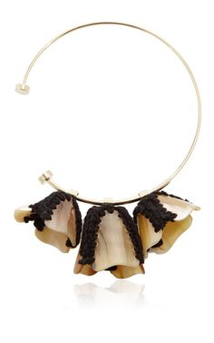 Horn and yarn flower necklace by MARNI Now Available on Moda Operandi