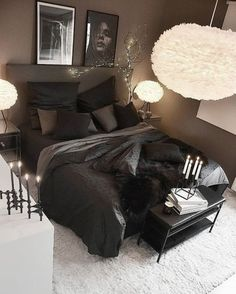 Loving the feather lights and that cozy black bed. Who else wants this in their room? Black Bedroom Decor, Room Ideas Bedroom, Home Decor Bedroom, Living Room Decor, Bedroom Signs, Master Bedroom, Aesthetic Bedroom, Dream Rooms, Luxurious Bedrooms