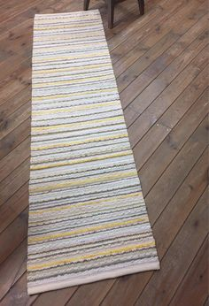 Your place to buy and sell all things handmade White Rugs, Grey Runner, Floor Runners, Rag Rugs, Cotton Bedding, Grey Yellow, Floor Rugs, Handmade Rugs, Green Colors