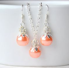Peach Coral Light orange necklace and earrings by LaurinWedding, $15.00