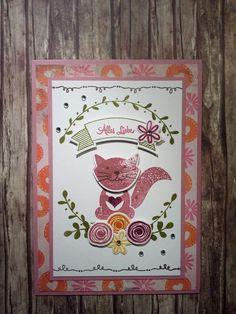 Geburtstagskarte für ein Mädchen mit Foxy Friends, Swirly Bird, Bannerweise Grüße und Grußelemente in Zarte Pflaume Himbeerrot Olivgrün Flüsterweiß Orangentraum Espresso und Osterglocke, sowie DSP und Wink of Stella clear