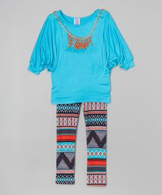 Look at this Blue Tunic Set - Girls on #zulily today!