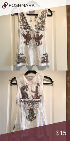 Flattering sleeveless burnout tee Purchased from Nordstrom. Butterfly dropout brand. Burnout style tee. Very soft. Graphic print. Pretty ruffle detail around neckline. Nordstrom Tops Tank Tops