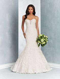 Alfred Angelo Style 2603: fit and flare wedding dress with strapless nude illusion plunging neckline