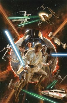 Marvel takes over Star Wars comics next year with the release of its new ongoing series, and naturally there's a lot of variant covers planned for issue one - we've already seen Joe Quesada's jam-packed cover, but Alex Ross' is a truly special bit of art. Alex Ross, Star Wars Comics, Marvel Comics, Comic Superheroes, Star Wars Poster, Star Wars Art, Georges Wolinski, Science Fiction, Film Gif
