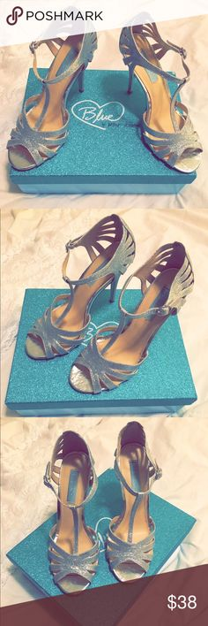 Betsey Johnson silver t-strap heels Blue Worn for a wedding. 4.5 heel Betsey Johnson Shoes Heels