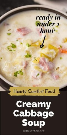 Ham And Cabbage Soup, Ham And Potato Soup, Cabbage Soup Recipes, Ham Soup, Easy Soup Recipes, Crockpot Recipes, Cooking Recipes, Creamy Cabbage Soup Recipe, Soup With Ham
