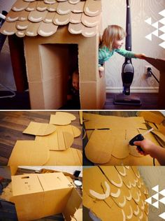 "Cute cardboard ""gingerbread"" house for kids. via The House That Lars Built.: My Scandinavian Christmas day 6 Cardboard Houses For Kids, Cardboard Gingerbread House, Christmas Gingerbread, Cardboard Crafts, Cardboard Boxes, Cardboard Playhouse, Office Christmas, Christmas Door, Christmas Candy"