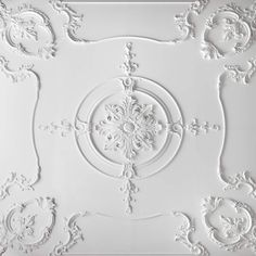 The style of this decorative plaster ceiling reflects French Empire tastes, it works well in either a contemporary setting or any space where there is a ceiling height with a minimum of Supplied in sections to be applied to an existing ceiling background. Plaster Ceiling Design, Molding Ceiling, House Ceiling Design, Wall Molding, Cornice Moulding, Plaster Cornice, Plaster Mouldings, Plaster Walls, Dome Ceiling