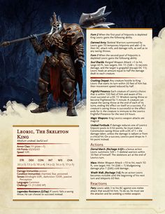 DnD Homebrew — Leoric, The Skeleton King by Dungeons And Dragons 5e, Dungeons And Dragons Homebrew, Dungeons And Dragons Characters, Dnd Dragons, Monster Characters, Dnd Characters, Skeleton King, Dnd Stats, Dungeon Master's Guide