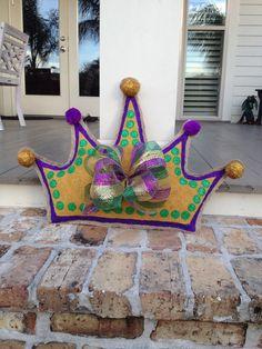 Mardi Gras Crown Burlap Door Hanger
