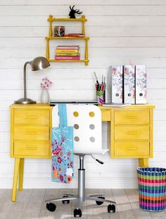 yellow desk love - Click image to find more Home Decor Pinterest pins