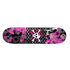 Scene Kid Girly Skull Skateboard Deck - Custom Skateboard Deck for Girls - Personalize with your own name or text