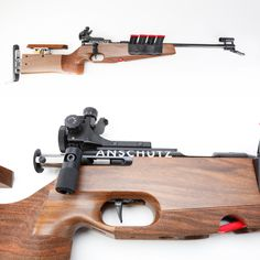 Anschutz Model 1827 Fortner Bolt Action Biathlon Rifle – Like all the biathlon rifles, this rifle uses .22 LR ammunition and is a straight-pull bolt action. The straight-pull is preferential since contestants shoot without gloves in frigid conditions. This rifle's carrying sling quickly converts to a shooting sling and back again. Both its front and rear sights are equipped with covers to prevent show accumulating in the sight apertures.