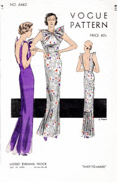 Vogue 6463 1930s evening gown Art Deco dress vintage sewing pattern reproduction