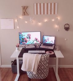 Home Office Style On A Budget! IKEA Skarsta sitting & standing adjustable height desk | IKEA black desk pad | Target patterned chair