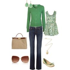 Not much green on this board, and this outfit is really cute. Don't even look at bag or earrings....YIKES. But jeans, shoes, cardigan, and precious, little top are very reasonable.
