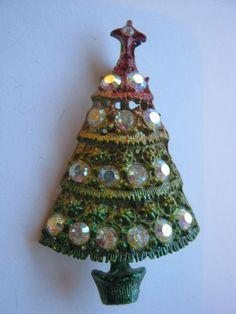 BEST OFFER #BROOCH #CHRISTMAS TREE RHINESTONE OMBRE #VintageJewelry