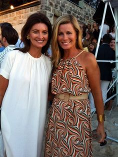 Hermes Beach Party - Karin Upton Baker & Deborah Hutton (wearing Banjo Riviera Maxi Dress)