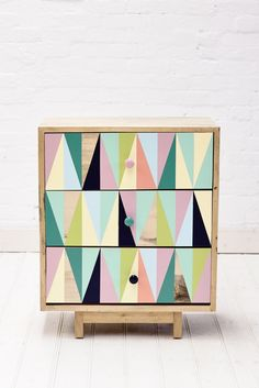 recycled timber 3 drawer cabinet - possible DIY! triangle pattern