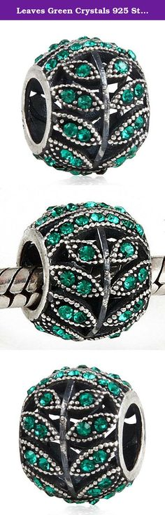 Leaves Green Crystals 925 Sterling Silver Bead fits Pandora European Charm Bracelets. This Leaves CZ Crystals charm is compatible with Pandora bracelets, and interchangeable with Pandora charms / beads! Made of Sterling silver, it is the perfect gift for any occasion. It is also a great addition to your European charm bead bracelet or necklace. This .925 sterling silver bead is compatible with Pandora style chains, will fit most 3mm European style cables.