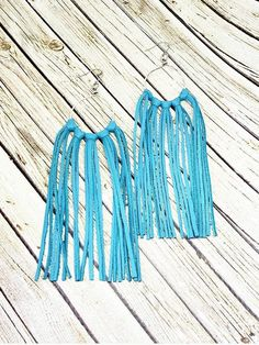 Long Tassel Earrings, Turquoise Leather Fringe Earrings, Boho Chic Earrings, Statement Earrings, Bohemian Earrings, Leather Earrings by whiteshedcreations on Etsy