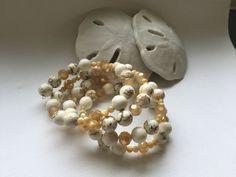 White beaded wrap bracelet marbled white beads by CorksdeVine