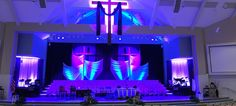 Cross and Fabric   Church Stage Design Ideas