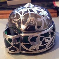Antique Sterling Silver Overlay Green Glass Inkwell Connecticut