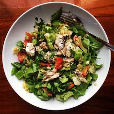 Salad of greens, sugar snap peas, fermented sauerkraut, mayonnaise, sardines, capers, parsley, basil and frozen celery which keeps it cold and fresh for traveling.