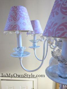 How to Make ShabbyChandelier Shade Covers Using Scrapbook Paper | In My Own Style