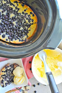 Slow Cooker Blueberry Cobbler is made with fresh blueberries. But you can use frozen and make it all year long!