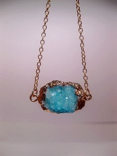 Gold Nugget Turquoise Druzy Necklace Geode