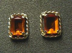 HUGE Sarah Coventry Square Cut Citrine Clip On Earrings.