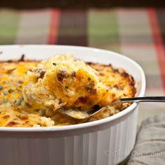 Cheesy Potato Breakfast Casserole.  Make ahead, gluten free recipe.  Cheesy good.