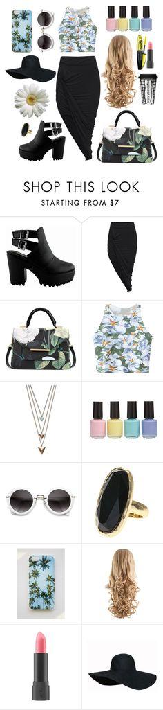 """Asymmetric skirt & flowers #19"" by deborahsousa ❤ liked on Polyvore featuring Ted Baker, Chicnova Fashion, Panacea, BP., Forever 21, Bite and Dot & Bo"