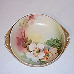 Nippon Hand Painted Poppies Handled Dish
